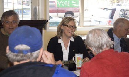 Green Party leader May visits Merritt